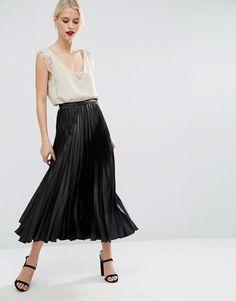Image 1 of ASOS Midi Skirt in Pleated Satin