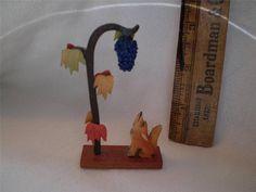 Vintage Erzgebirge Wood Dog Barking at Grapes Tree Miniature Germany