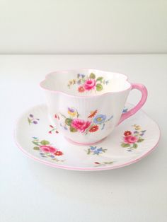 Antique Shelley English Fine Bone China Dainty Shape Rose and Red Daisy Pattern Teacup and Saucer Tea Party - c. 1935-1962 by MariasFarmhouse