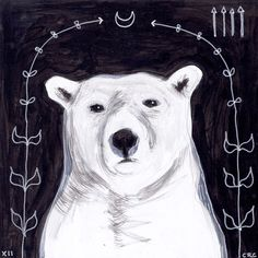 polar bear at night - black and white - original acrylic painting - small 6x6 square. Artist Cara Compernolle, $60.00