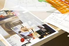 Concept board and drawing on the desk during Introduction to Interior Design Plus. Photograph: Spine Photographic