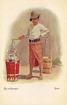 Ice seller on 1911 in indonesia Retro Advertising, Vintage Advertisements, Vintage Ads, Vintage Posters, Vintage Photos, Indonesian Art, Old Commercials, Dutch East Indies, Dutch Colonial
