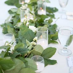 A garland and candle