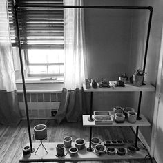 MadPotters: when the lighting sucks, make it black and white! Just wanted to share the latest project - with so many pots in progress and experimenting with new designs we had to make some new shelves! Coming soon to the shop - new succulent shooter sets, now with trays! Jewelry Catch All sets and planter and tray sets. Holidays are coming - get your custom orders in now!  www.etsy.com/shop/MadPotters . . . . #shelfie #cementshooter #cementpots #indoordecor #industrialdesign #blackironpipe…
