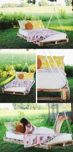 I want this for me!  Great outside lounging swing for mom to read and keep an eye on the kids!