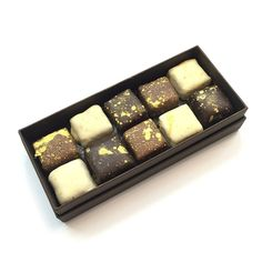 Fresh Chocolates - Our Salted Square Selection Box Selection Boxes, Restaurant Recipes, Melting Chocolate, Chocolates, Preserves, Fresh, Desserts, Food, Melt Chocolate