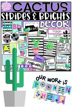 Hundreds of pages of Cactus classroom decor to adorn your walls, furniture and bulletin boards.  Get your room back to school ready with this ON POINT bundle.