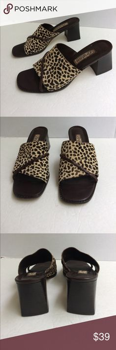 """Brighton Calf Hair Cheetah Pattern Sandals Brown calf hair cheetah pattern leather sandals. Braided leather strand across the arch band. Leather soles. 3"""" block heels. Light scuffs on soles. Very good condition. Brighton Shoes Mules & Clogs"""