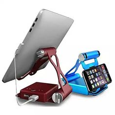 Podium Style Folding Gadget Stand With Built In Power Bank.. with an extended 10,500 mAh battery backup up to 200% for your iPad 1/2/3, and 100% for iPad 4, Air 1/2  300% on iPhone 4/5/6/6 Plus ,Kindle 100%  All models and other smart gadgets..The stand folds like origami work, unfolds to create a perfect viewing angle and neatly folds back to small box that can be carried anywhere. The base of the stand is a built in charger with 2 USB charging ports that can be used for char...