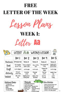 Free Preschool Lesson Plans - letter of the week -letter a # preschool activities lesson plans Letter A FREE Weekly Lesson Plan - This Crafty Mom Daycare Lesson Plans, Pre K Lesson Plans, Lesson Plans For Toddlers, Kindergarten Lesson Plans, Teaching Kindergarten, Lesson Plan Templates, Teaching Career, Preschool Lesson Plan Template, Mom Lesson