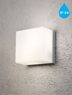 Konstsmide 'Sanremo' IP54 E27 2 Light Large Outdoor Wall Light, Aluminium Finish With Opal Polycarbonate Glass - 7927-312 None