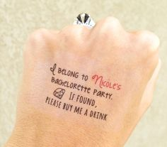 I've been a fan of Lauren Conrad (now Lauren Tell) since high school and I loved the idea of doing temporary tattoo's for Caitlyn's Bachelorette. I saw these on LC's website, and I thought they would be a great way to identify us as a group when we were no longer wearing our matching T-shirts