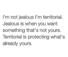 This is perfect. I'm not jealous. I'm just territorial. Touch whats mine, i'll show no mercy The Words, Mood Quotes, Life Quotes, Jealousy Quotes, Romance Quotes, Bitch Quotes, Status Quotes, Crush Quotes, Im Jealous