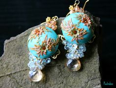 beautiful polymer clay earrings with swarowski crystals $65
