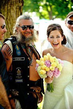 Summer bride with biker Alternative Bride, Couple Posing, Bikers, Unique Weddings, Memorial Day, Vows, Madness, Harley Davidson, Wheels