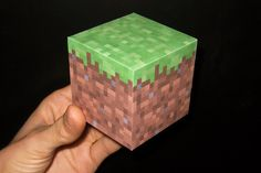 Minecraft grass block - gift cube box  I think ill use this for my lil cousins xmas gift, he loved minecraft