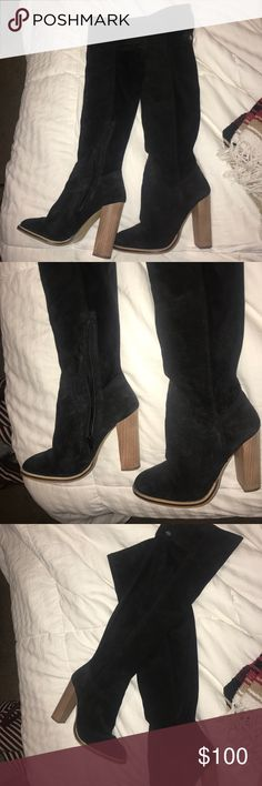 ASOS over the knee boots. (BRAND NEW) Brand new, real suede over the knee black boots with wooden heel. I've worn these once. This is a REALLY good deal on them because I paid $120 ASOS Shoes Heeled Boots