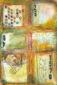 I like squares.....a nice change from everyone's circles! art journal page