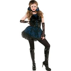 Our Teen Girls Broken Doll Costume is a frilly purple dress with black and white polka dot detail. Description from partycity.com. I searched for this on bing.com/images