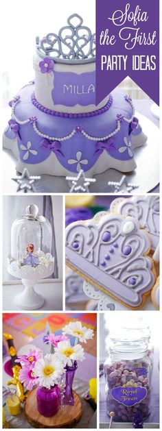 This Sofia the First princess party has a gorgeous cake! See more party ideas… Sofia The First Birthday Cake, Princess Sofia Birthday, Princess Party, Girl Birthday Themes, 4th Birthday Parties, 3rd Birthday, Birthday Ideas, Zeina, Baby Shower