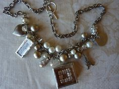 Pearls Crystals and Charms Necklace Charmed Vintage by Margolinn, $85.00