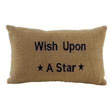 "Burlap Star ""Wish"" Accessory Pillow"