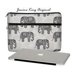 Cute Elephant Laptop Sleeve Laptop Bag  Laptop Case gray - Sizes: 15, 17 PC / 13, 15, 17 MacBook Pro / 11, 13 Air / 13, 15 Retina (MTO)