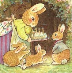 "Momma rabbit,birthday party,""make a wish rue"" cake,foxwood,england postcard Beatrix Potter Illustrations, Beatrice Potter, Peter Rabbit And Friends, Bunny Art, Children's Book Illustration, Whimsical Art, Architecture Art, Cute Art, Illustrators"