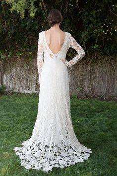 Low Back Bohemian Wedding Dress. Crochet Lace Dress. Long Sleeves. Train. Vintage Inspired Boho Wedding Dress. Open Back. Ivory or White longsleeved