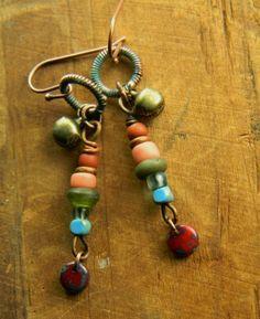 Brass Bell Earrings Tribal Pink OOAK | ChrysalisJewelry - Jewelry on ArtFire