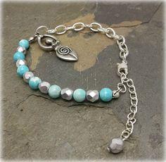SALE Elegant Turquoise and crystal spiral by SpellboundOriginalz
