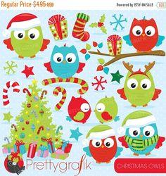 80% OFF SALE Christmas owls clipart commercial use, christmas birds, owl vector graphics, digital clip art, digital images  - CL758
