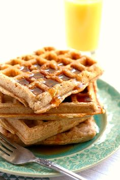 Light and fluffy cinnamon sugar egg free waffles are a delicious weekend breakfast idea! These are sure to be a family favorite.