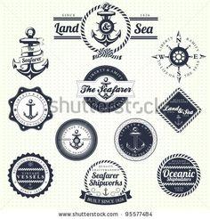 Vintage Label - stock vector : Set Of Vintage Retro Nautical Badges And Labels