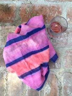 Britt Browne for Edible Gardens LA. Britt Browne has hand dyed linen napkins with Indigo and Cochineal for Edible Gardens LA new garden to table line.
