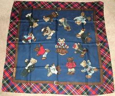 Vintage Ralph Lauren  The Polo Bear  Plaid Silk Navy Scarf 35