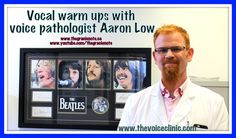 The Voice Clinic's voice pathologist Aaron Low demonstrates how to properly warm up your voice using lip and tongue trills. The Toronto voice specialist also. Your Voice, The Beatles, Singing, Career, Lips, Note, Warm, Confidence, Content