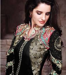 Buy Black embroidered georgette semi stitched salwar with dupatta anarkali-salwar-kameez online