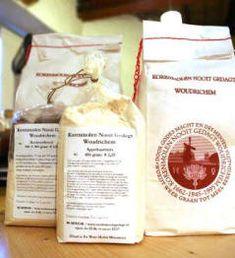 speltmeel / tarwebloem / patentbloem / gist / kant- en klare broodmix van bv. Korenmolen Nooit Gedagt