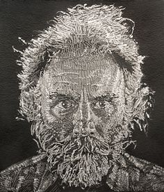 Chuck Close Lucas Paper/Pulp, 2006 Stenciled handmade paper print in nine colors Chuck Close, Visual Literacy, Cardboard Art, Artist Signatures, Art Forms, Paper Cutting, Making Out, Silhouettes, Shadows