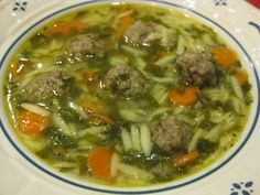 Italian Wedding Soup  7 cups chicken broth (4/14 ounce cans)  2 cloves garlic  1/2 cup orzo pasta  2 Tablespoons fresh parsley, chopped  1 carrot, thinly sliced  4 ounces chopped fresh spinach  salt and pepper to taste  Meatballs:  1/2 pound 96% lean ground beef  4 Tablespoons Progresso Italian Seasoned Bread Crumbs  2 teaspoons fresh parsley, chopped  1/4 cup onion, finely minced  1 egg