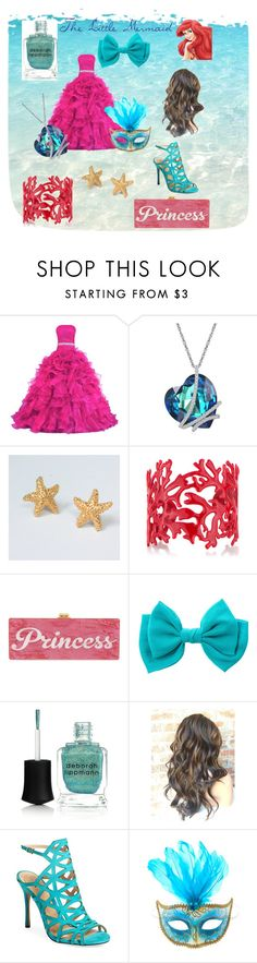 Disney's The Little Mermaid Ariel Masquerade Outfit by mayathestylist on Polyvore featuring Vince Camuto, Edie Parker, Trifari, Deborah Lippmann and claire's