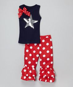 Look at this Beary Basics Navy Star Tank & Red Ruffle Pants - Infant, Toddler & Girls on #zulily today!