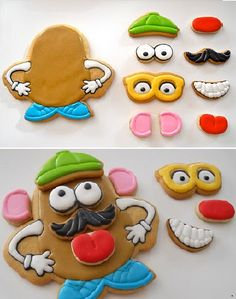 Mr Potato Head cookies = decorating these would be a fun party activity!