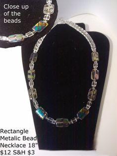 Rectangle Metallic Bead Necklace