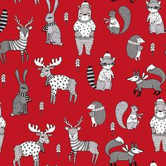 Woodland christmas animals fabric bear fox deer raccoon red fabric by andrea_lauren on Spoonflower - custom fabric