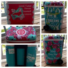 "Lilly ""In the garden"" and #First Impression"" inspired print #painted #cooler #sailing #monogram #HaylilyDesigns #preppy #pink"
