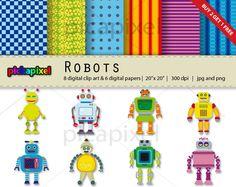 Robots - digital clip art
