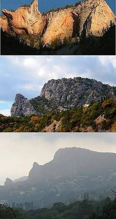"""Fake - The top image is pinned as """"Cat Mountain in the Ukraine"""". It is really a contest entry titled """"Sleepy Canyon"""" by an artist known as Cyn at Worth1000.com and placed first in the """"Canvas Earth 2"""" contest which was posted a decade ago. - The real mountain is shown in the second and third images. it is easier to visualize the cat in the third image."""