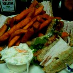 Diner Food Fave. Turkey Club with Sweet Potato Fries and Slaw @Tony's Westside, Torrington CT